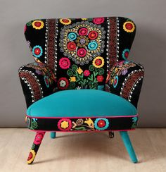 Name Design Studio - Armchair Funky Furniture, Upcycled Furniture, Unique Furniture, Furniture Makeover, Reupholster Furniture, Upholstered Furniture, Funky Chairs, Colourful Living Room, Boho Home