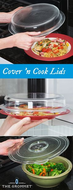 Reheat steam and cook with a glass microwave lid that doubles as a lid for a pot or pan. Its safer more durable and longer lasting than plastic lids and wrap. Made of sturdy non-porous borosilicate glass it doesnt hold on to odors stains or bact Safe Glass, Pot Lids, Gadgets And Gizmos, Kitchen Gadgets, Kitchen Tips, Kitchen Stuff, Kitchen Ideas, Glass Design, Decoration