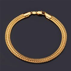 """18K"" Stamp Real Gold Plated Bracelet Wholesale New Fashion Rock Style 21 cm 0.6 cm Thick Snake Chain Bracelet Men Jewelry"