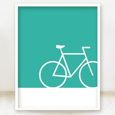 Bicycle Icon Print - 8x10 Teal - You can choose the color - Bike Print - Fun Bicycle Poster