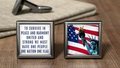 Personalized Statue Of Liberty Cufflinks - American Flag Cufflinks - American USA Cuff Link - Wedding Cufflinks - Patriotic American Gifts