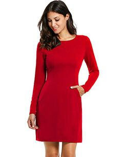 ANGVNS Womens Round Neck Long Sleeve Casual Slim Work Business Dress M Red >>> To view further for this item, visit the image link.