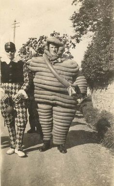 Without meaning to overdo it another Michelin Man costume - 1920's.  Archibald Baker is the Michelin Man with his friend dressed as a jester.