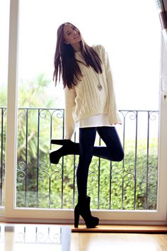 Great simple style: Leggings & cabled sweater.