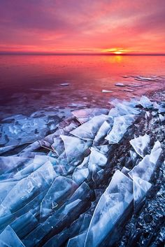 Ice shards at the shore of Lake Superior