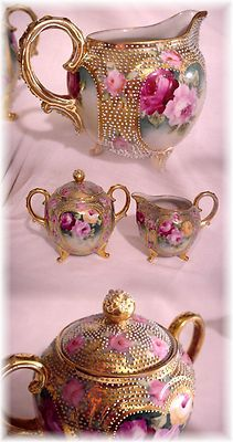 Antique Nippon Heavy Beaded Moriage Creamer and Sugar Hand Painted Roses Gold