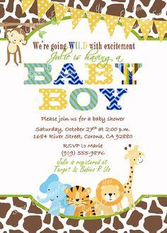 jungle safari baby shower invitation by