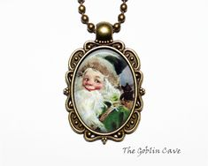 Santa Claus Necklace, Christmas Jewelry, Bronze Pendant, Stocking Stuffer Gift Christmas Necklace, Christmas Jewelry, Christmas Ornaments, Bronze Pendant, Santa, Holiday Decor, Unique Jewelry, Handmade Gifts, Etsy