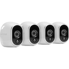 NETGEAR - Arlo Smart Home Indoor/Outdoor Wireless High-Definition Security Cameras (4-Pack) - White/Black - Angle Zoom