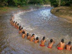 Indians in a day of full moon in September 2007,Brasil.