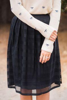 Skirt: stripes midi black shiny long sleeves top t-shirt ribbon pattern classy chic outfit street