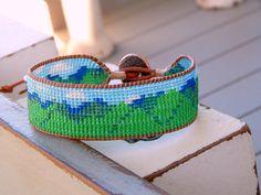 Mountain Loom Friendship cuff bracelet, Beaded Cuff Bracelet, Mountain Jewelry, Boho cuff bracelet, Appalachian Mountains