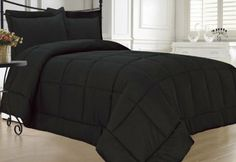 Bedroom decor: all black. Simple yet modern and masculine