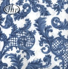 SANS SOUCI, 600+ Different Napkin Designs in Stock Premium Quality Decoupage Napkin,  Blue and White, 3 Ply, 33cm.