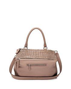 Givenchy Pandora Medium Stamped Crocodile Shoulder Bag, Linen