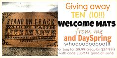 DaySpring welcome mat giveaway lisa-jo baker blog. Want to buy this if I don't win!