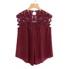 SHEIN Burgundy Sleeveless Round Neck Sexy Blouse Keyhole Button Back Daisy Lace Shoulder Shell Top Women Elegant Blouses - SHEIN Burgundy Sleeveless Round Neck Sexy Blouse Keyhole Button Back D – eefury Source by wwdresslily - Elegante Y Chic, Shell Tops, Sexy Blouse, Mode Hijab, Looks Vintage, Lace Tops, Blouses For Women, Ideias Fashion, Fashion Dresses