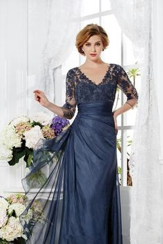 Wholesale 2015 Vintage Navy Blue Mother Of The Bride Groom Dresses 3/4 Sleeves Appliques Lace A-line V-neck Long Custom Made Winter Evening Party Gown, Free shipping, $104.17/Piece | DHgate Mobile