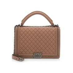 Rental Chanel Leather Large Top Handle Boy Bag (2,285 ILS) ❤ liked on Polyvore featuring bags, handbags, pink, pink handbags, genuine leather handbags, chanel, top handle leather handbags and real leather handbags