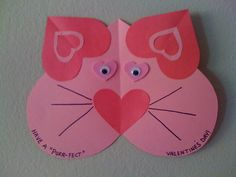 Valentine's craft for kids, easy craft for preschooler. Daycare Crafts, Classroom Crafts, Toddler Crafts, Preschool Crafts, Cat Crafts, Kids Crafts, Valentine Crafts For Kids, Valentines Day Activities, Craft Activities