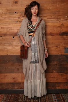 Free People boho chic style girl in bohemian dress.