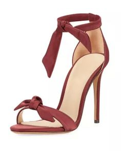 Alexandre Birman Clarita Bow-embellished Suede Sandals In Merlot Ankle Wrap Sandals, Ankle Strap Shoes, Heeled Sandals, Strap Sandals, Alexandre Birman, Zapatos Shoes, Shoes Heels, Wine Shoes, Satin Shoes