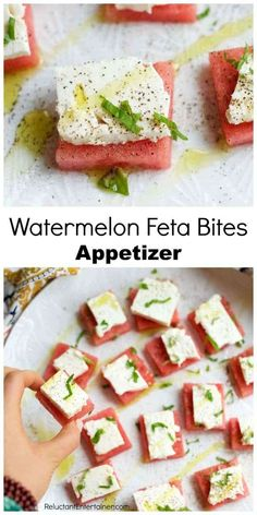 Delicious Watermelon Feta Bites Appetizer, bring to a party or just enjoy as a light, summer appetizer. These watermelon bites are an elegant, tasty shower, potluck or a snack out by the pool–treat. Light Appetizers, Elegant Appetizers, Cold Appetizers, Finger Food Appetizers, Healthy Appetizers, Appetizers For Party, Appetizer Recipes, One Bite Appetizers, Italian Appetizers