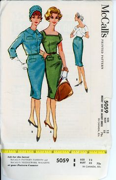 McCalls 5059 Misses 1950s Suit Dress Jacket Pattern Sheath Dress Skirt and Jacket Day or Evening Womens Vintage Sewing Pattern Bust 32 UNCUT. $18.00, via Etsy.