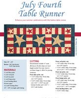 "Enjoy the July Fourth table runner digital pattern from Love of Quilting July/August 2007 issue. Enhance your summer celebrations with a festive table runner. Project designed by Rachel Well. Only $5 for digital pattern. Quilt size is 20"" x 44""    Project rating: Intermediate."
