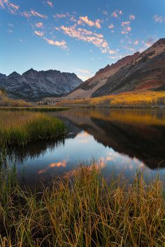 """""""North Lake Symmetry""""   Calm reflections at North Lake on a fall evening in the Eastern Sierras."""