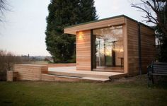 studios Contemporary Garden Studio Room/ Slough, UK Set in the rural forests of England, the cedar clad 'guest house' is nestled amongst the trees as if it belongs there. The garden studio includes a bathroom, living area . Outdoor Office, Backyard Office, Backyard Studio, Garden Office, Outdoor Rooms, Backyard Ideas, Backyard Projects, Shed Design, Garden Design