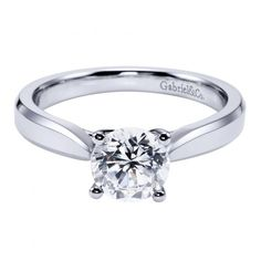 14k white gold cathedral solitaire round diamond engagement ring with pinched…