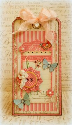 Tag made with the gorgeous Botanical Tea collection for Mother's Day. @Graphic 45®