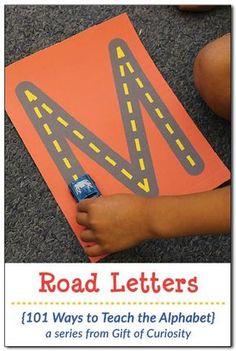 Deutsch, Buchstaben nachspuren, Straße, mit Spielzeugauto Auto befahren, fahren, Vorschule, Klasse 1, praktisch, nachfahren