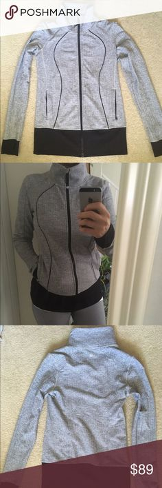 Lululemon Jacket Excellent condition. Super comfortable and very stretchy. Herringbone print with finger holes.  I would keep it, but I need to make room in my closet. lululemon athletica Tops Sweatshirts & Hoodies