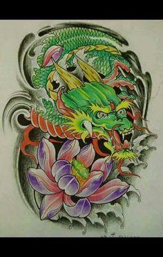 Koi Dragon Tattoo, Koi Fish Tattoo, Dragon Tattoo Designs, Dragon Art, Mosaic Tattoo, Japan Tattoo Design, Hannya Mask Tattoo, Tatuajes Tattoos, Dragon Sleeve