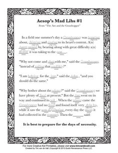 """A printable mad libs worksheet for kids, based on the Aesop's Fable, """"The Ant and the Grasshopper."""""""