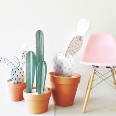 After making my small paper plants, I wanted something bigger and better. Something that I wouldn't kill. Introducing: cardboard cacti. Decorate your home with no fear of needles! On the blog today. #larsmakes Chair by @modernica