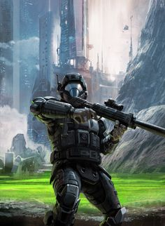 Novel cover for Matt Forbeck's novel Halo: New Blood published by Simon and Schuster. This was exciting to work on. It's always fun to be able to illustrate one of your own designs. Halo 3 Odst, Halo 5, Armor Concept, Concept Art, Gundam, Guerra Anime, Halo Armor, Halo Series, Halo Collection