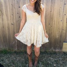 American Eagle Lace Dress Cream colored lace with an open back! So cute for the rodeo, a football game, or an everyday event. Worn once and in great condition. Has a built in long tank under the dress. American Eagle Outfitters Dresses Mini