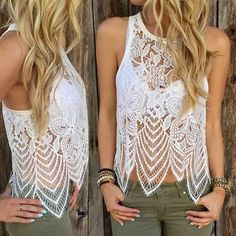 """✨SALE✨The Angel Gorgeous Crochet Lace Mix Top The Angel Gorgeous Crochet Lace Mix Top .      2 Sizes Available. Use Measurements to determine your best size . Size M Bust 34 . 23"""" Length . Size L Bust 36 . 24"""" Length Tops Tank Tops"""