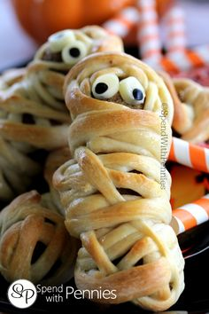 Meatball Mummies Pin it to your HALLOWEEN BOARD to save it for later! Follow Spend With Pennies on Pinterest for more great tips, ideas and recipes! Not just for Halloween, these are fun to eat any time of the year! These little guys are not only adorable.. they're super easy to make! I used lean frozen meatballs but ANY type of meatball can be used for these! A strand of spaghetti inserted into the meatballs stabilizes them enough so you {Read More}