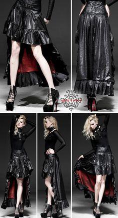 black high-low skirt with red lining, Punk Fashion, Gothic Fashion, Fashion Beauty, Girl Fashion, Womens Fashion, Fashion Design, My Life Style, My Style, Black High Low Skirt