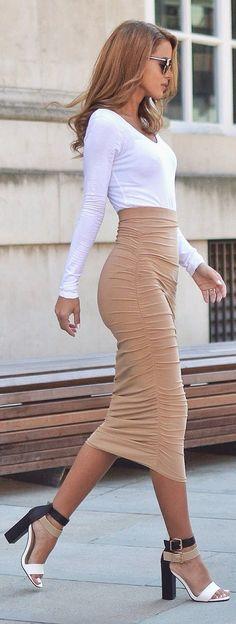 street style camel midi skirt