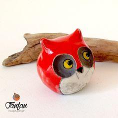 Gros hibou Rouge en céramique Raku : Accessoires de maison par fanfan-rouge-gorge