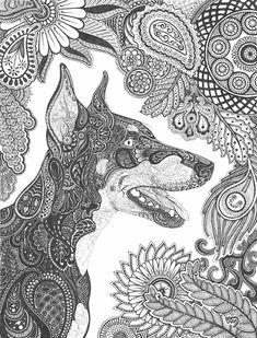 Paisley Doberman Pinscher by Celerie.deviantart.com on @deviantART