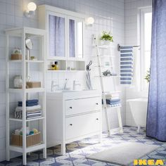 Bathroom in blue and white colors More ikea bathrooms interiors: https://en.ikea-club.org/category/bathrooms-ikea-interiors.html