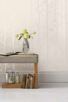 Silver trees wallpaper. Perfect for a tranquil bedroom.