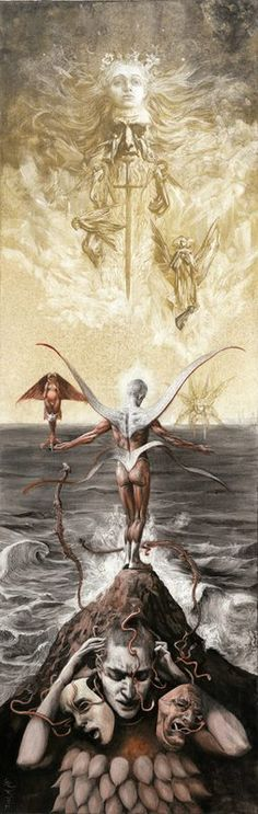 """""""Angel of Flesh"""" - Ink & scratch over plastered cardboard (34"""" x 15"""" ) by Santiago Caruso"""