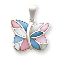 Sterling Silver Pink and Blue Shell Butterfly Pendant - JewelryWeb JewelryWeb. $31.40